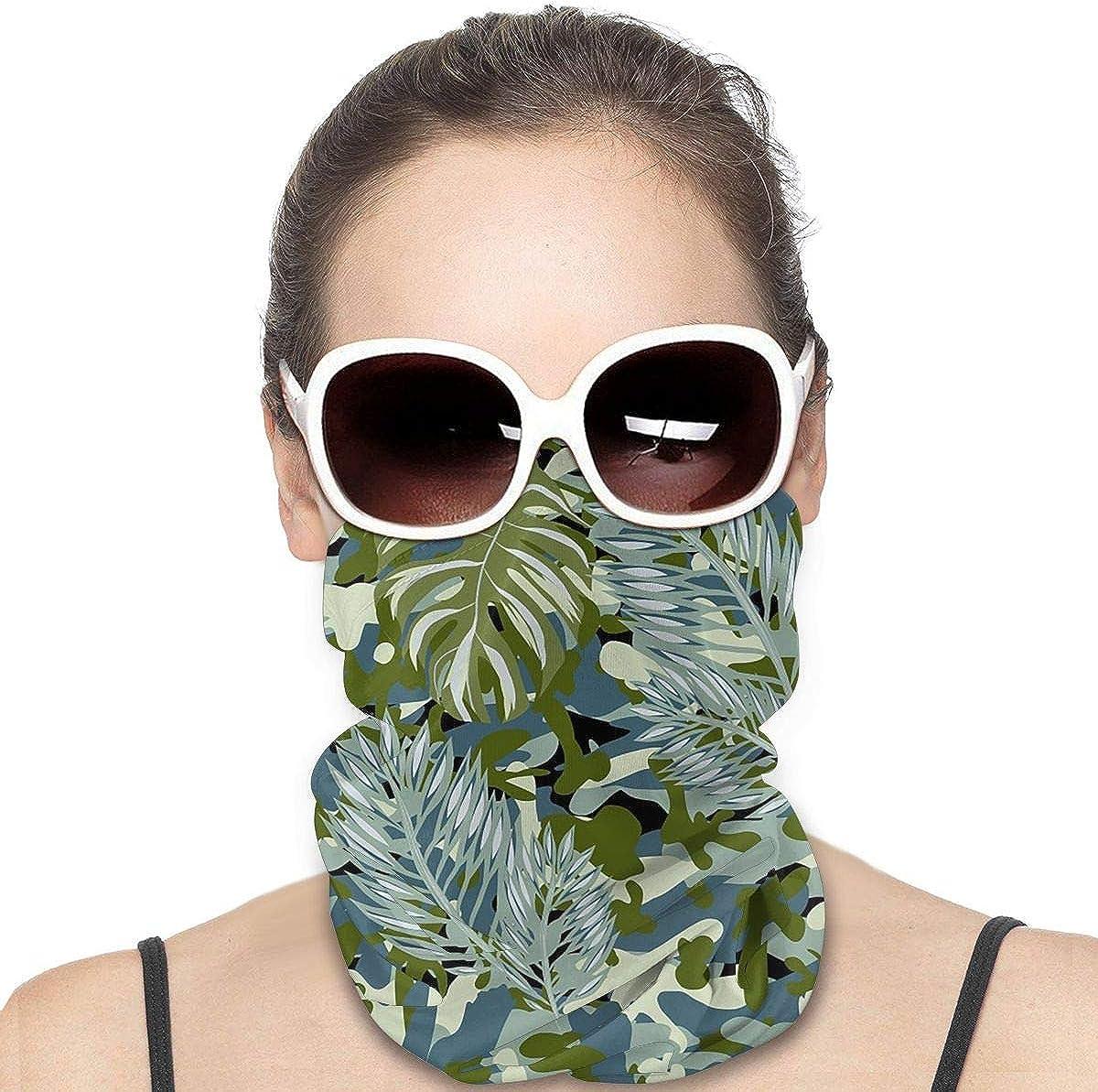 KiuLoam Women Bandanas Face Mask, Military Green Camouflage Palm Leaf Neck Gaiter Mask Headband for Men Face Scarf Dust, Outdoors, Sports