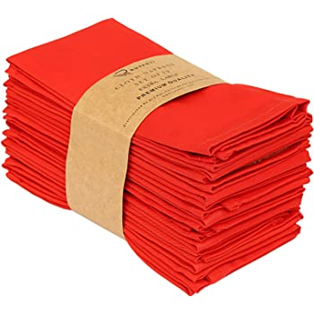 "Ruvanti Kitchen Cloth Napkins 12 Pack (18"" X18""), Red Dinner Napkins Soft and Comfortable Reusable Napkins - Durable Linen Napkins - Perfect Table Napkins/Red Napkins for Family Dinners, Weddings."