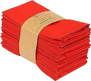 """Ruvanti Kitchen Cloth Napkins 12 Pack (18"""" X18""""), Red Dinner Napkins Soft and.."""