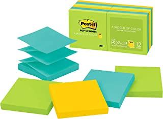 Post-it Pop-up Notes, 7,6 x 7,6 cm, 12 blocos, notas adesivas favoritas número 1 dos EUA, coleção Jaipur, cores ousadas (v...