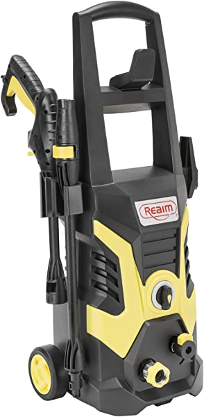 Realm BY02 BCOH Electric Pressure Washer 2100 PSI 1 75 GPM 13 Amp With Spray Gun Adjustable Nozzle Detergent Bottle Yellow Black