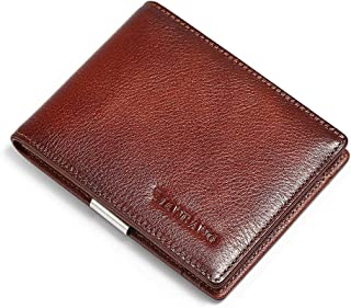 Mens Slim Genuine Leather Wallet with Money Clip RFID Blocking Bifold Credit Card Holder for Men with Gift Box (Brown)