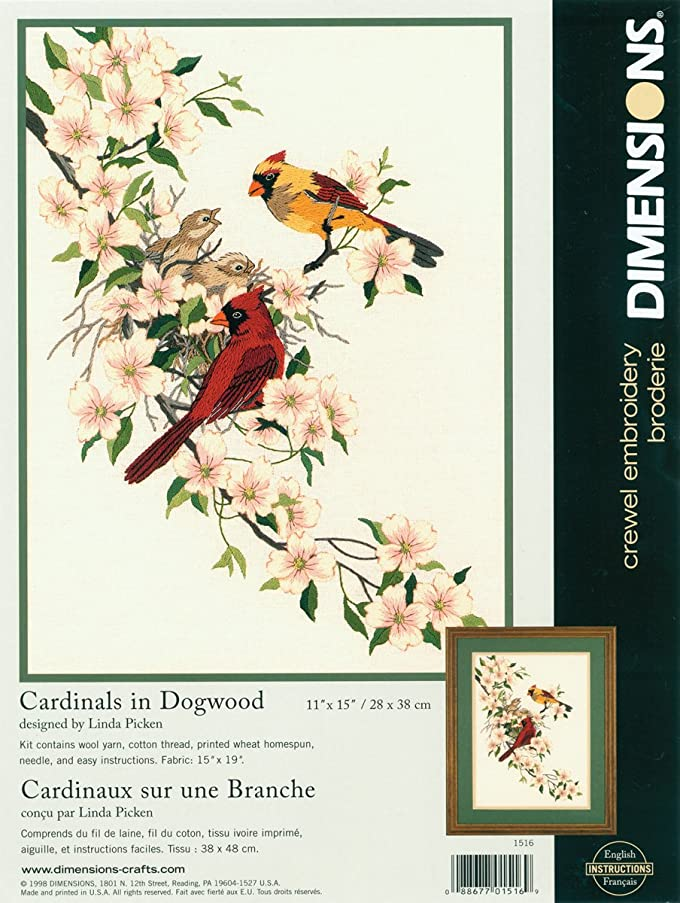 Dimensions Crewel Embroidery Kit - Cardinals In Dogwood