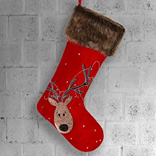 TFWell Christmas Stockings, 21 inch Red Gold Christmas Stockings with Reindeer and Fur Cuff for Rustic Xmas Tree Family Holiday Christmas Party Decorations