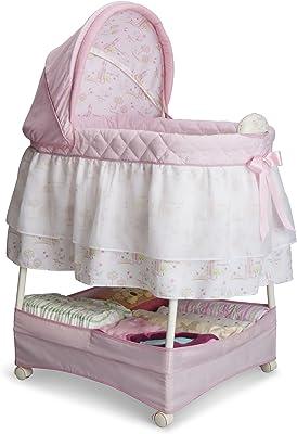 Delta Children Gliding Bedside Bassinet - Portable Crib with Lights, Sounds and Vibration, Disney Princess