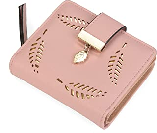 Women's Short Purse Leather Medium Wallet Leaf Bifold Card Coin Holder Small Purses Buckle Zipper Clutch-by Vodiu