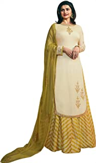 Exotic India AfterGlow Prachi Kameez with Long Skirt Suit and Crystal St - Cream