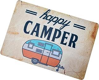 Happy Camper Camping Door Mat Entrance Mat Floor Mat Rug Indoor/Outdoor/Front Door/Bathroom Mats Rubber