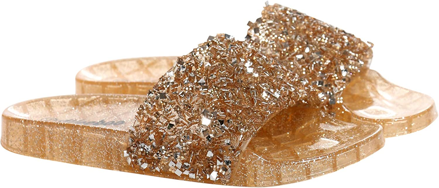 WEEBOO Womens Casual Slip On Open Toe One Band Glitter Jelly Slides