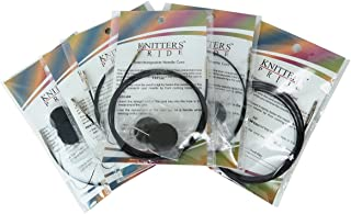 Knitters Pride Interchangeable Black Cord Variety Pack - 6 Common Sizes, 16, 24, 32, 40, 47, 60