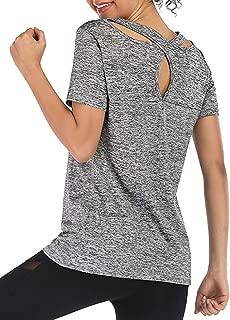 Women's Short Sleeve Yoga Shirts Criss Cross Back Workout Gym Top for Running Activewear