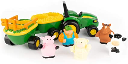 Fisher Price Little People Farm Tractor Hay Wagon w//Sounds Pop Up Pig  Farmer