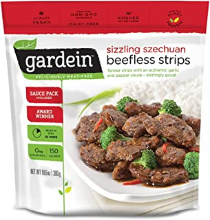 Gardein Szechuan Beefless Strips, Meatless Protein Packed Strips, Contains Sauce Packet, 10.6 Ounce (Frozen)