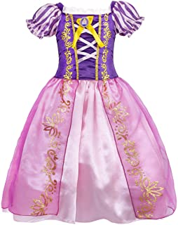 HenzWorld Princess Costume Dresses for Girls Birthday Party Cosplay Role Play Outfit Puff Sleeve Ruffle Patchwork Purple Split Mesh Layer Skirt Little Kids Children Age 5-6 Years