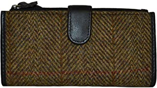 Ladies Traditional Harris Tweed and Leather Long Wallet Purse Choice of Colours