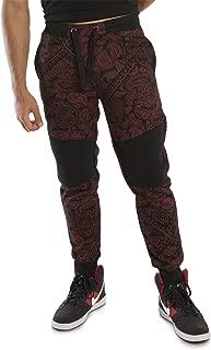Vibes Men's Moto Patch Fleece Jogger Pants Paisley Bandanna Print Rib Cuff