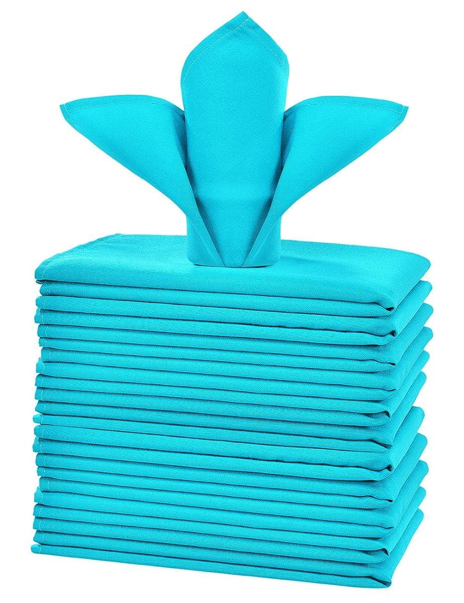 cieltown Polyester Cloth Napkins 1-Dozen (17 x 17-Inch, Turquoise)