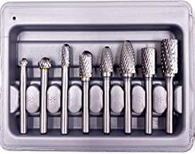 WHISTECK Carbide Burr Set, Double Cut Tungsten Carbide Rotary Burr set, 6mm (about 1/4 inch) Shank Die Grinder Bits, Carbide Rotary File for Metal Wood Carving, Engraving, Polishing ,Drilling, 8pcs