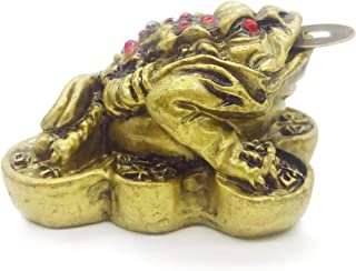 Golden Fortune Coin & Money Toad/Frog/Jin Chan 三足金蟾 - Feng Shui Chinese Charm of Prosperity Decoration Gift (Idea for Office Desk, Computer, Book Shelf, Cashier Registration Area Display)
