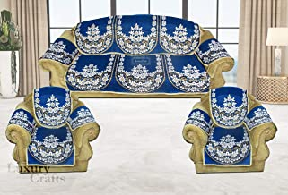 Luxury Crafts™ Pollycotton Sofa and Chair Cover Set with arms Cover (Set of 12 Pieces,) (Blue)