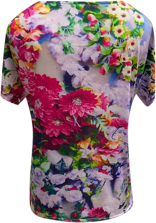 FABIURT Shirts for Women Under 10 Dollars Womens T Shirt Casual Cotton Short Sleeve V-Neck Graphic T-Shirt Tops Tees