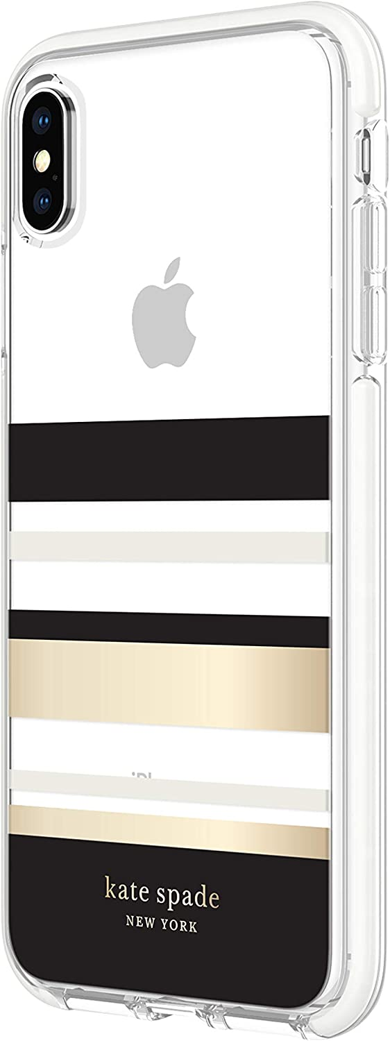 kate spade new york Park Stripe Gold Foil Case Compatible with Apple iPhone Xs Max