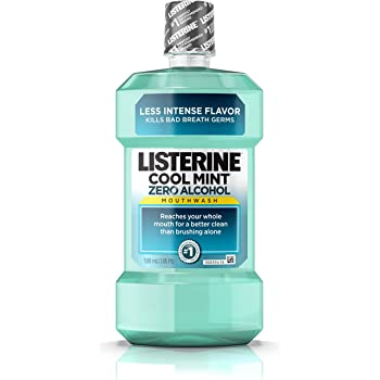 Amazon Com Listerine Zero Alcohol Mouthwash Less Intense Alcohol Free Oral Care Formula For Bad Breath Cool Mint Flavor 500 Ml Pack Of 6 Beauty