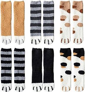 ATROPOS 6 Pair Fuzzy Cat Paw Socks Fluffy Cozy Slipper Socks Winter Sleeping Socks with Cat Paw Pattern for Women Girls Gifts