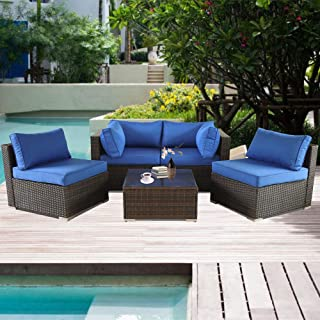 Leaptime Patio Furniture Brown Rattan Sofa Set 5pcs Outdoor Couch Garden Sofas w/Coffee Side Table Royal Blue Cushion