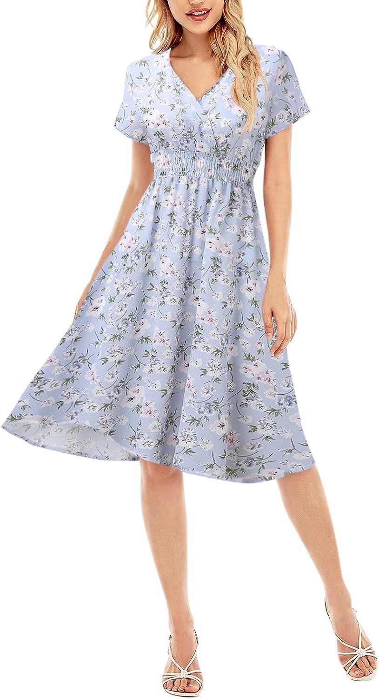 Sayhi Casual Loose Dresses for Women,Floral Print Rhombic Dress Beach Style Temperamental Sundresses