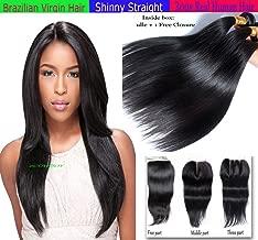 eCowboy virgin Remy STRAIGHT 3 Bundle Pack with FREE PART LACE CLOSURE Extensions Combination Set, unprocessed Virgin Brazilian 100% Human Hair Color #1B -20