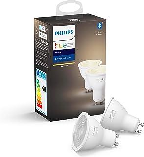 Philips Hue Spot 2-Pack - GU10 - Duurzame LED Verlichting - Warmwit Licht - Dimbaar - Verbind met Bluetooth of Hue Bridge...
