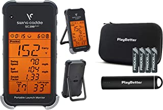 Swing Caddie SC200 Plus+ Portable Golf Launch Monitor by Voice Caddie Power Bundle   Extra AAA Batteries (4-Pack), PlayBetter Portable Charger & Protective Case   Doppler Radar   Smash Factor