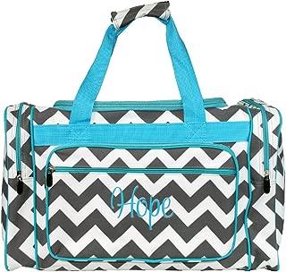 Personalized Aqua Trim Grey Chevron Womens Duffel Bag