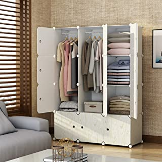 KOUSI Portable Closet Wardrobe Closets Clothes Wardrobe Bedroom Armoire Storage Organizer with Doors, Capacious Sturdy, Wood Pattern, 6 Cubes,2 Hanging Sections