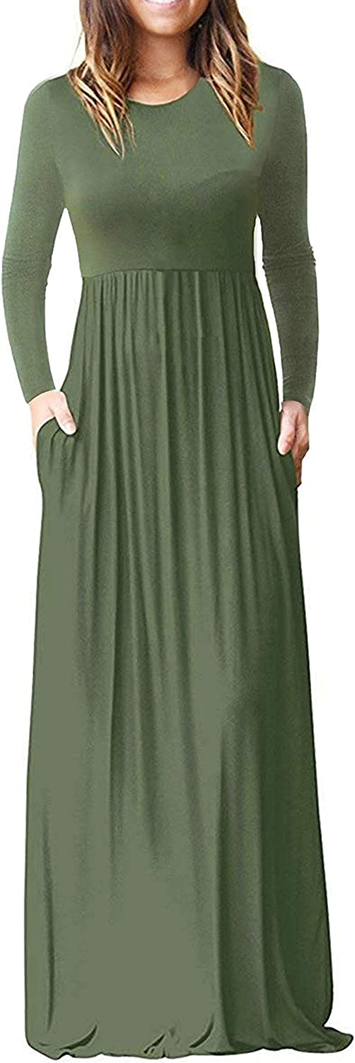 HOMEYEE Women's Loose Long Sleeve Casual Maxi Dress with Pockets A120