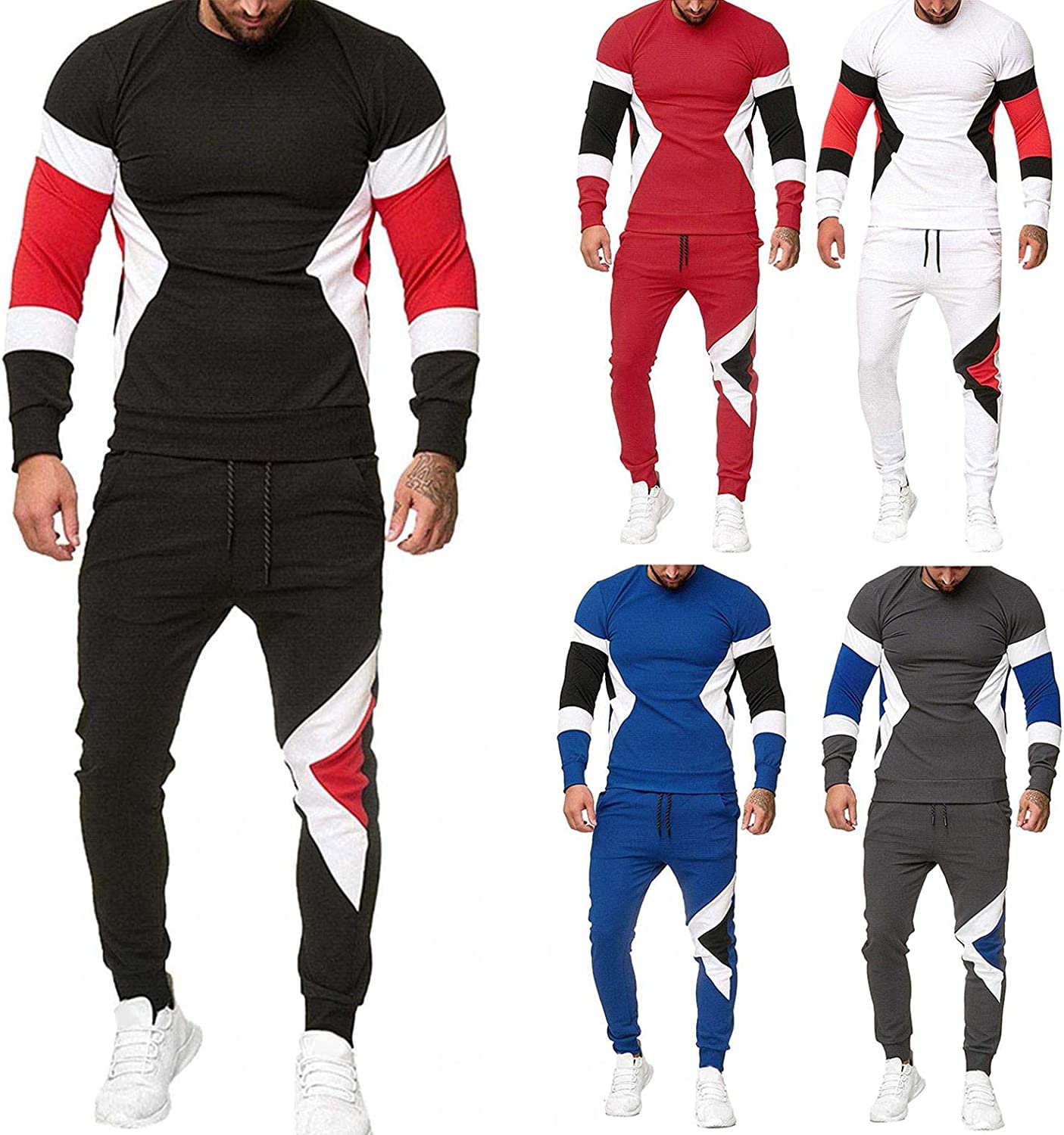 WoCoo Mens 2 Piece Sport Sets Long Sleeve Crewneck Pullover Tops & Pants Tracksuits Running Jogging Sweatsuits