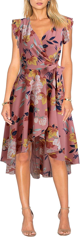 FORTRIC Women V Neck High Low Summer Flowy Maternity Chiffon Belt Wrap Dress