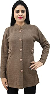 Matelco Womens Woollen Brown Buttoned Cardigan/Coat with Pockets
