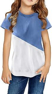 قمصان Dokotoo للفتيات قصيرة الأكمام بلوزات وبلوزات