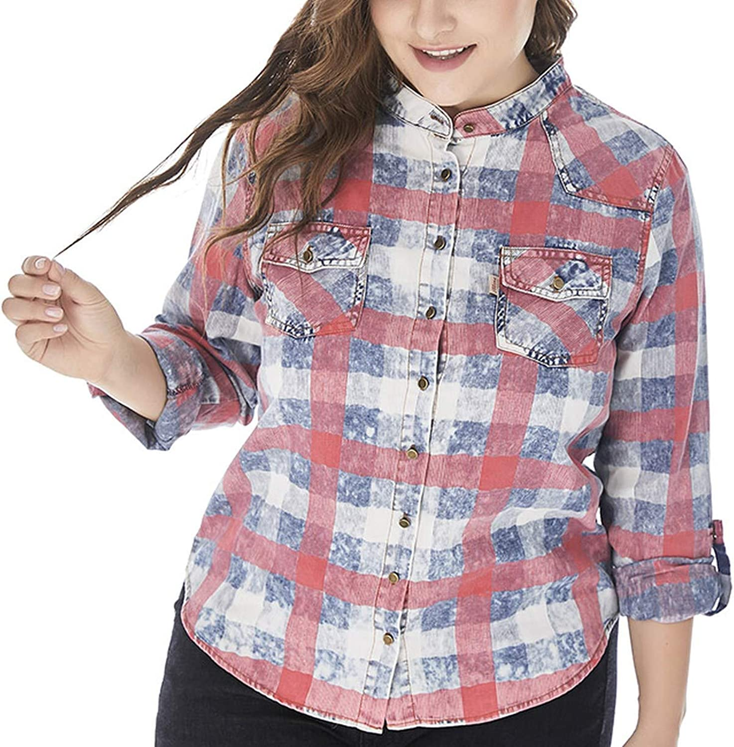 Rather be Womens Plus Size Denim Plaid Long Sleeve Tops and Blouses Women Fashion Party Streetwear Ladies top tee