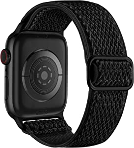 Lerobo Elastic Bands Compatible with Apple Watch 40mm 38mm 44mm 44mm for Women Men,Stretchy Solo Loop Soft Nylon Adjustable Braided Replacement Band for Apple Watch SE Series 6,Serise 5 4 3 2 1 Black