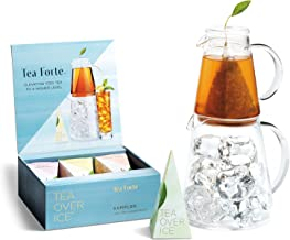 Tea Forte TEA OVER ICE Steeping Tea Pitcher Set and Iced Tea Infuser Sampler Box with 5 Different Tea Blends