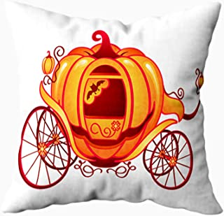 ROOLAYS Decorative Pillow Covers,16X16Inch Pumpkin Carriage Cinderella Halloween Isolated Over White or Sofa Pillow Cases,Throw Pillow Covers,White Green
