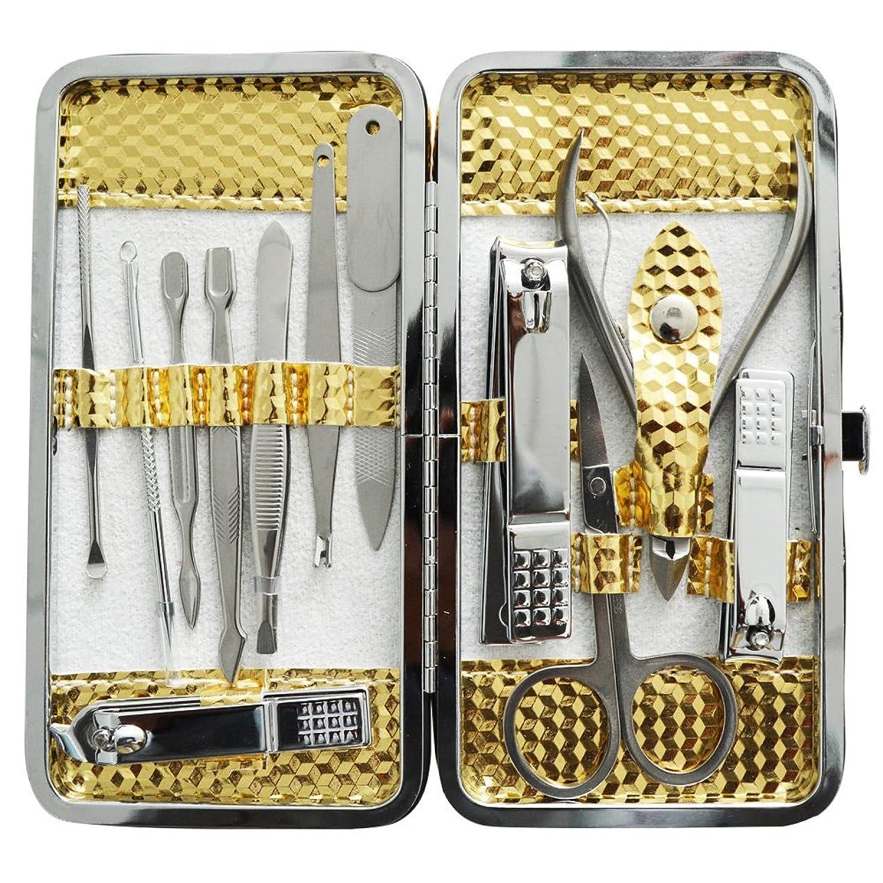 連結する交流する従順な爪切りセット 耳掃除機 12枚はさみ、キューティクルをトリマー、耳かき、ナイフ