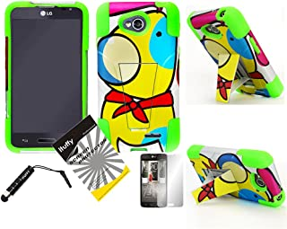 3 items Combo: ITUFFY(TM) LCD Screen Protector Film + Mini Stylus Pen + Pink Blue Yellow Color Paint Red Bow Wow Cartoon Dog Design Dual Layer KickStand Outdoor Tuff Impact Armor Hybrid Soft Rubber Silicone Cover Hard Snap On Plastic Case for LG Optimus L70 (MetroPCS) MS323 / LG Optimus Exceed II (Verizon) VS450 / LG Realm (Boost Mobile) LS620 / LG Dual D325 D320N (Cartoon Dog - Neon Green)