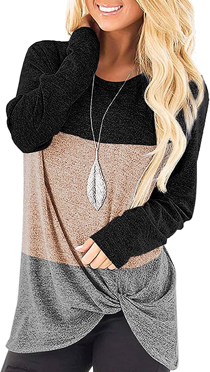 Women's Casual Long Sleeve Color Block Hoodies Tops with Pocket T-Shirts
