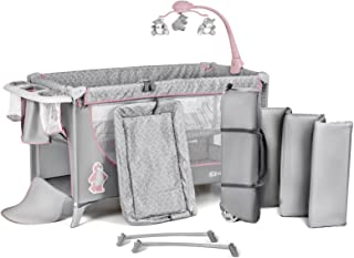 Kinderkraft KKJOY00PNK000Z JOY Kinderreisebett Kinderbett Klappbett Babybett Reisebett für Kinder mit Zubehören, rosa