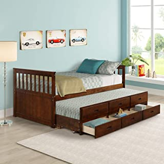 MIERES Twin Captain Bed with Trundle and Drawers, 3-in-one Solid Wood Daybed with Storage for Kids Guests