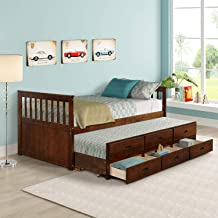 Twin Captain Bed with Trundle and Drawers, 3-in-one Solid Wood Daybed with Storage for Kids Guests, Walnut